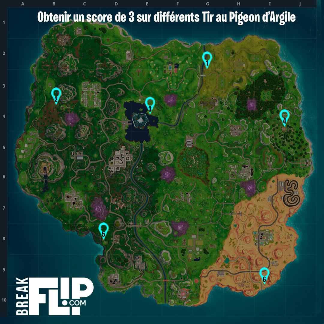Fortnite Obtenir Un Score De 3 Points Sur Differents Tir Au Pigeon - defi carte fortnite tir au pigeon saison 6