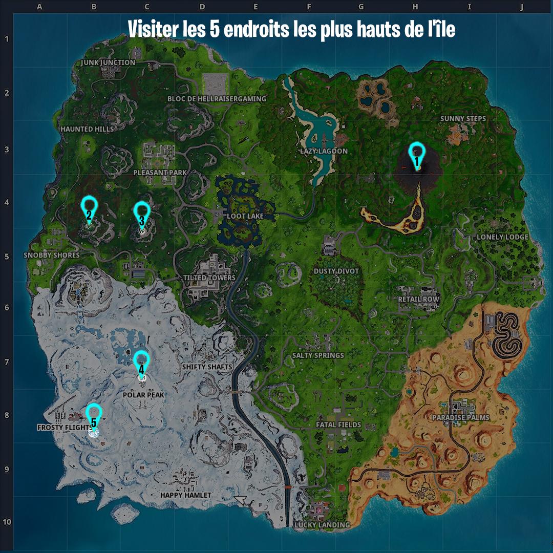 Carte Fortnite Visiter 5 Points Plus Hauts Ile
