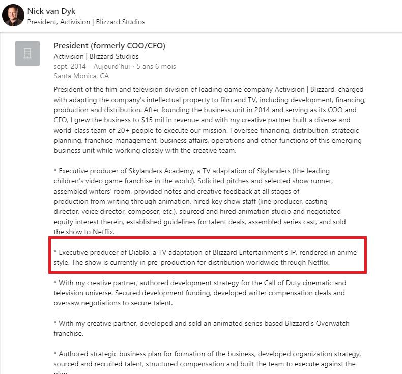 LinkedIn de Nick Van Dyk mentionnant le projet animé Diablo