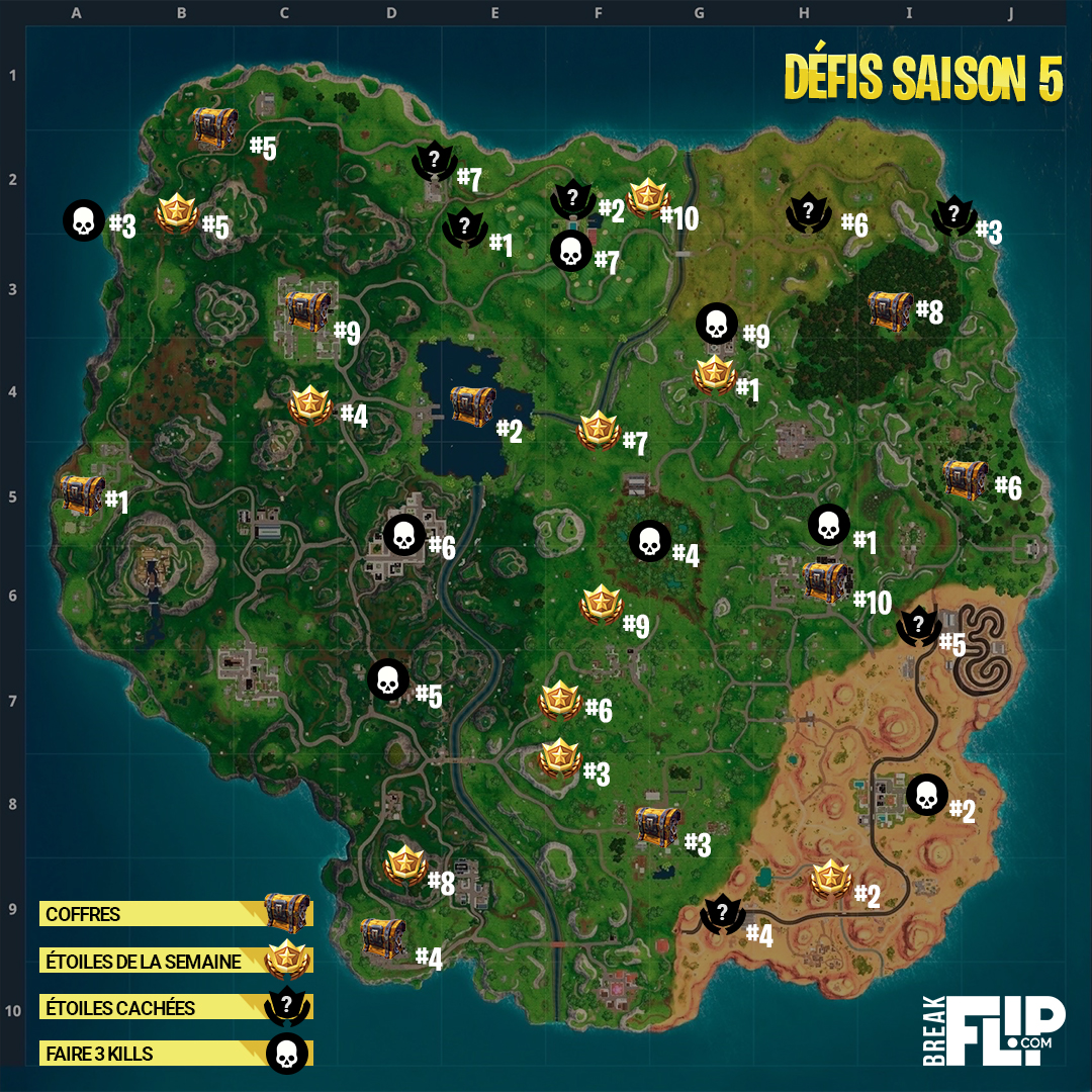 cliquez pour voir les cartes en plus grand - carte saison 6 fortnite