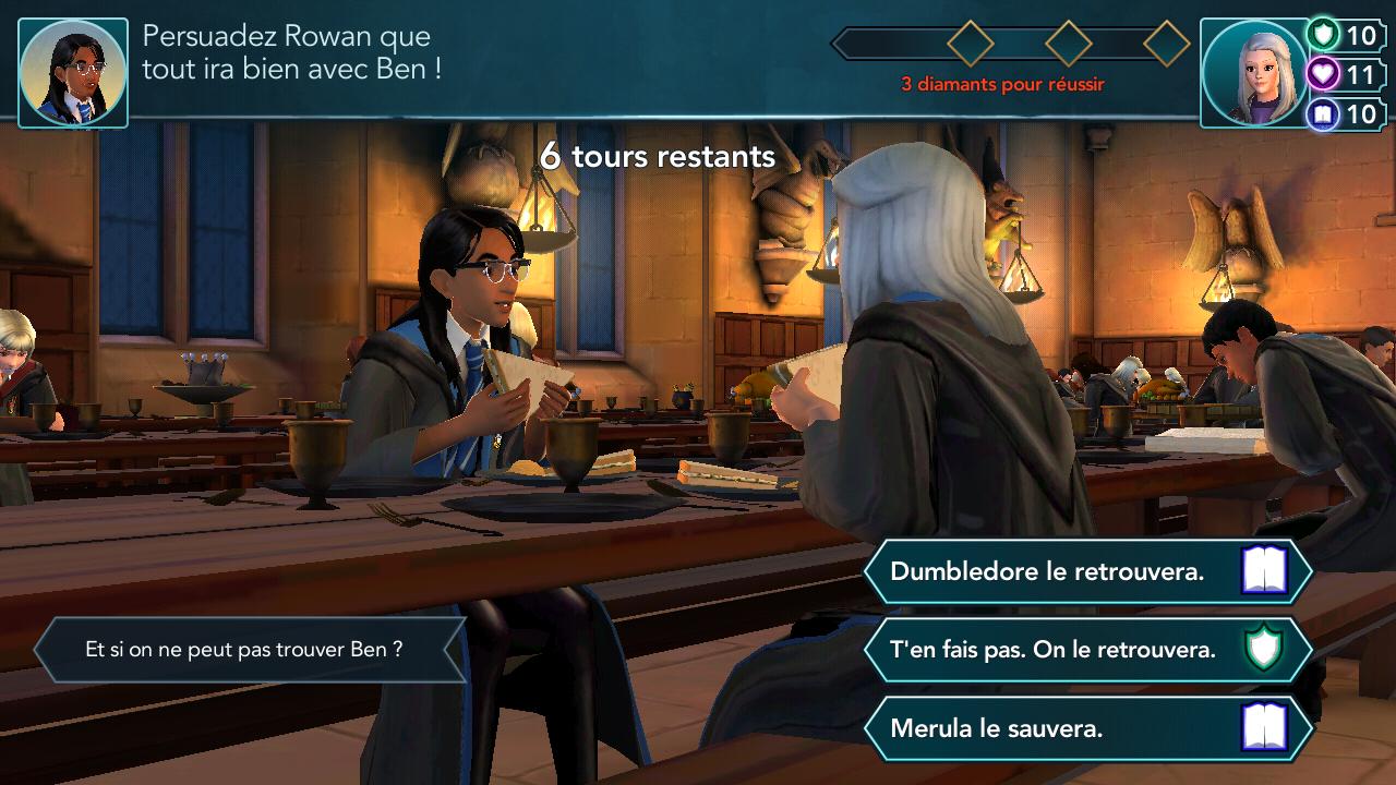 Persuader Rowan que tout ira bien avec Ben, Harry Potter Hogwarts